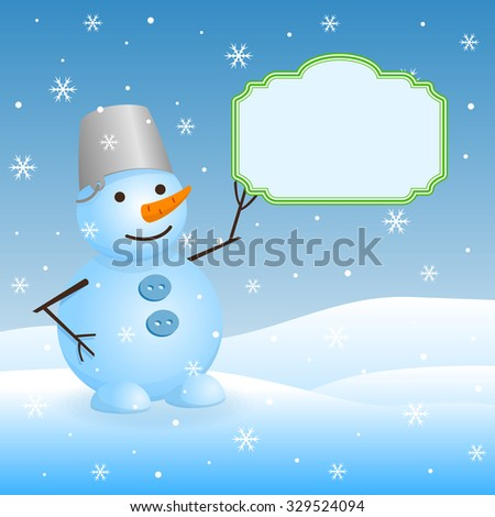 Vector christmas invitation card with snowman and place for text.