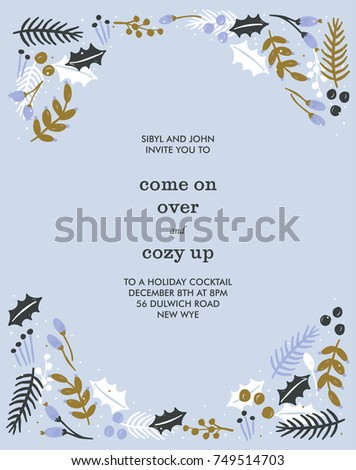 Vector Christmas Invitation Template Background Design  Christmas Invitation Template
