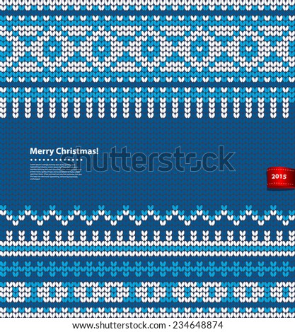 Vector Christmas knitted illustration can be used as a greeting card - stock vector