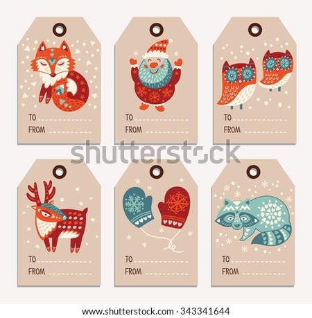 Vector Christmas labels collection with santa claus, cute fox, owls, deer, raccoon and mittens. Holiday decoration elements with cartoon characters. - stock vector