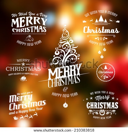 Vector Christmas labels set for banner, card or shop decoration design with many decorative elements. - stock vector