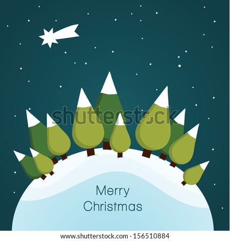 Vector Christmas landscape. Nice illustration for Christmas. Landscape with trees, stars and snow. - stock vector