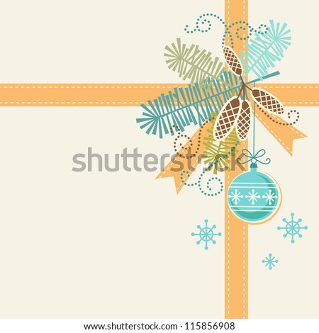 Vector christmas light background. Invitation and greeting card with stylized branches of christmas tree, cones, ribbon and christmas ball. Abstract simple winter holiday illustration with text box - stock vector
