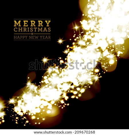 Vector christmas light background with snowflakes. - stock vector