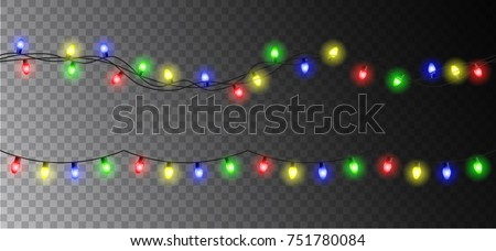 vector christmas light garland set isolated on transparent background - Christmas Light Garland