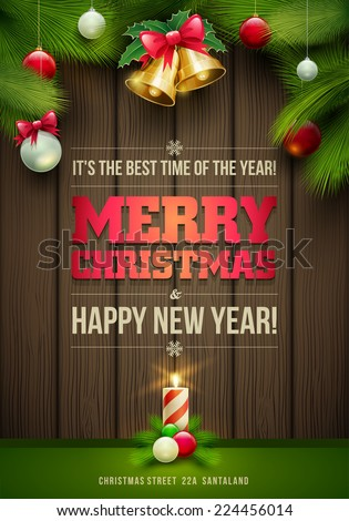 Vector Christmas Messages and objects on dark wooden background. Elements are layered separately in vector file. - stock vector