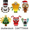 vector christmas monsters set 2 - Separate layers for easy editing - stock