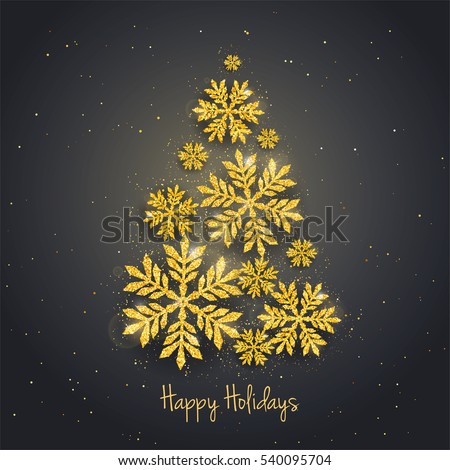 Vector Christmas New Year greeting card with sparkling glitter golden textured snowflakes make Christmas tree shape. Seasonal holidays background