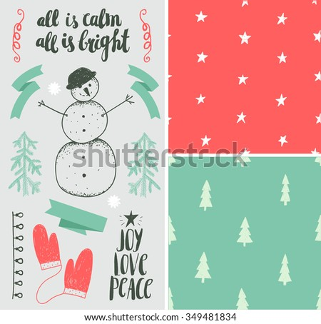 Vector Christmas, New Year set. Hand drawn winter holiday elements, seamless patterns, lettering. Isolated, easy editing