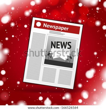 Vector Christmas newspaper icon - stock vector