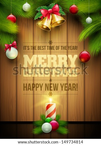 Vector christmas objects and message on wooden background. Elements are layered separately in vector file. - stock vector