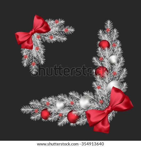 Vector Christmas or New Year decorations with silver fir tree and decorative elements - stock vector