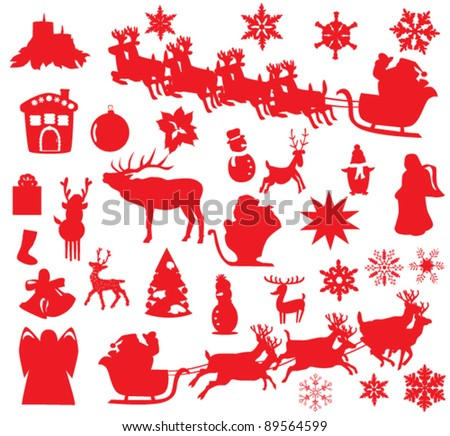 vector Christmas or New Year elements - stock vector
