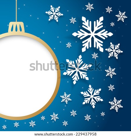 Vector christmas or new year invitation card with ball and space for text. - stock vector