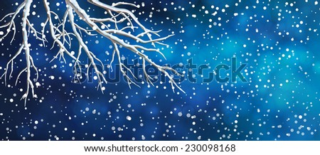 Vector Christmas panoramic banner. View of night dark blue sky, snowfall. bare tree branches - stock vector