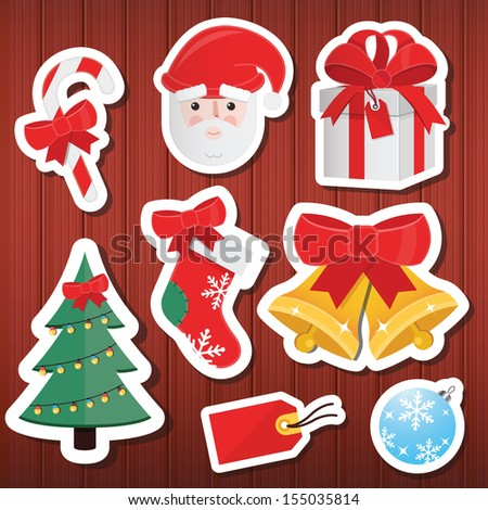 Vector Christmas Paper Icons Set Wooden Background - stock vector