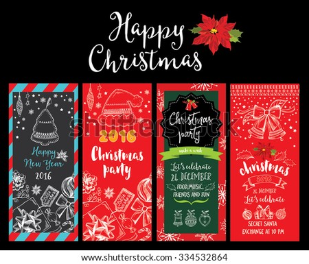 Vector christmas party invitation with toys. Holiday background and design banner. Vector template with hand-drawn xmas graphic.