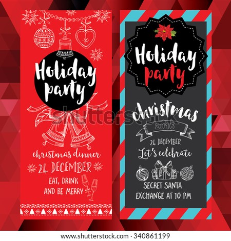 Vector christmas party invitation toys holiday stock vector vector christmas party invitation with toys holiday background and design banner vector template with stopboris Image collections