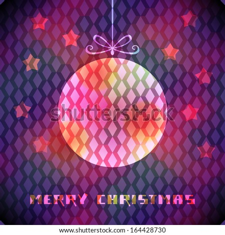 Vector christmas purple background with sparkling decoration, stars, greeting inscription. Original elegant poster. Abstract decorative color illustration in disco geometric style for print, web - stock vector