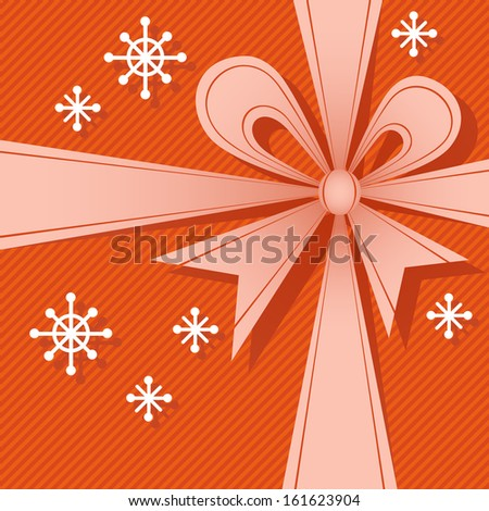 Vector Christmas red gift box with ribbon, big bow, snowflakes. Festive background for invitation, greeting card. Simple abstract holiday decorative winter illustration for print, web  - stock vector
