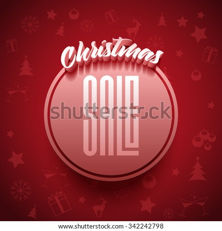Vector Christmas Sale typographic poster design. - stock vector