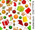 Vector Christmas seamless background with colorful gift boxes, bells, balls, socks, Santa hats, holly, cookies, oranges, candy canes and fir branches. - stock photo