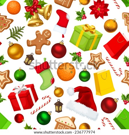 Vector Christmas seamless background with colorful gift boxes, bells, balls, socks, Santa hats, holly, cookies, oranges, candy canes and fir branches. - stock vector