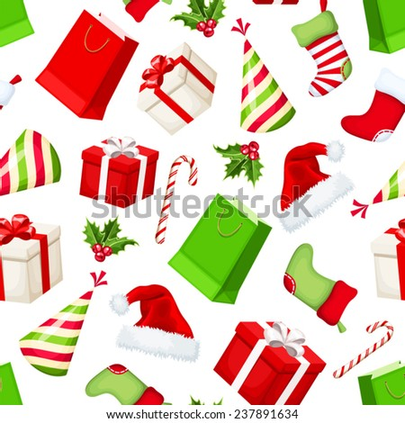 Vector Christmas seamless background with red, green and white gift boxes, gift bags, socks, Santa hats, party hats, holly and candy canes. - stock vector