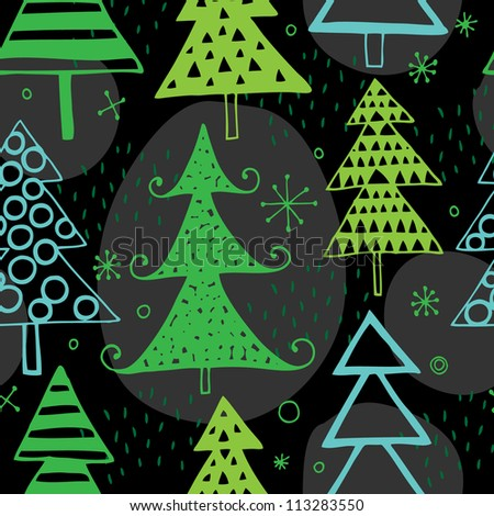 Vector Christmas seamless pattern with chrismas trees - stock vector