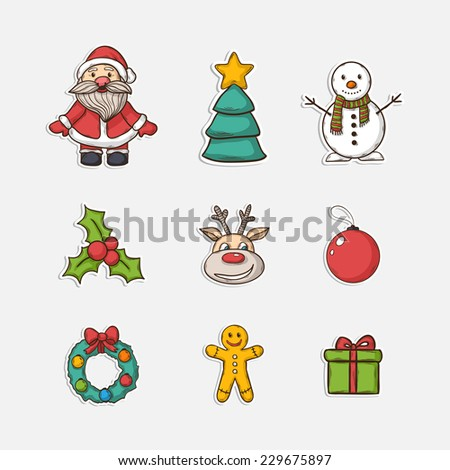 Vector Christmas set icons in doddle style with Christmas tree ,Santa Claus, snowman,gift, Christmas wreath,Christmas toys,deer