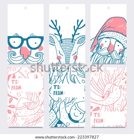 Vector Christmas set of hand drawn labels