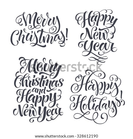 Vector Christmas set of holidays lettering. Merry Christmas and Happy New Year text lettering for invitation and greeting card, prints and posters. Hand drawn christmas calligraphic design - stock vector