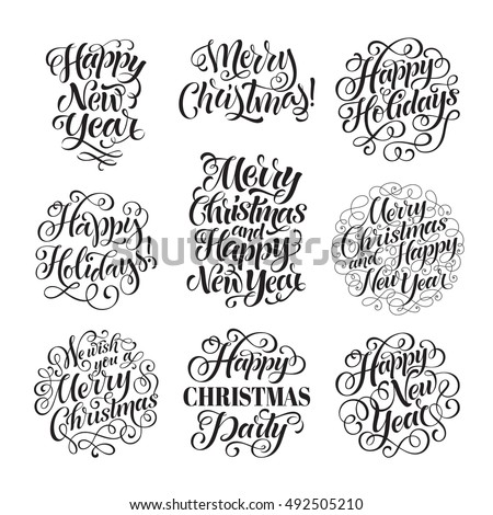 Vector Christmas set of holidays lettering. Merry Christmas and Happy New Year text lettering for invitation and greeting card, prints and posters. Hand drawn typographic inscriptions