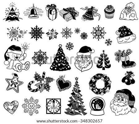 Vector Christmas silhouettes for decor or stickers