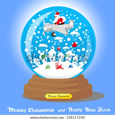 Vector Christmas Snow Globe: Santa Claus as pilot in airplane with big bag gifts and Xmas tree on blue gradient background - stock vector