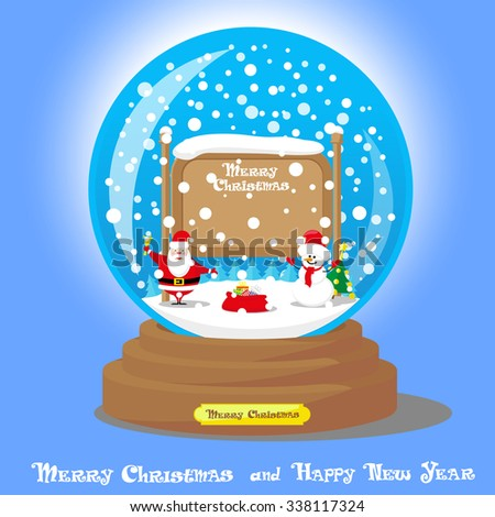 Vector Christmas Snow Globe: Santa Claus with big bag gifts and Snowman with Xmas tree on blue gradient background - stock vector