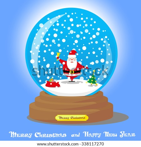 Vector Christmas Snow Globe with Santa Claus and big bag gifts on blue gradient background - stock vector