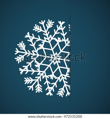 Vector Christmas snowflake applique in paper card on a blue background