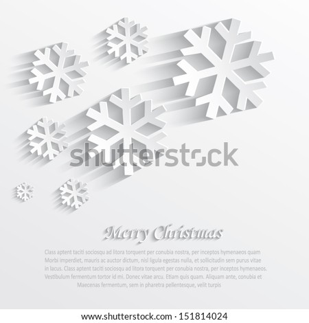 vector christmas snowflake white paper 3D - stock vector