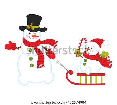 Vector Christmas Snowmen