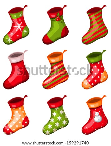 vector christmas socks - stock vector