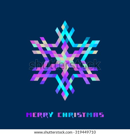 Vector christmas sparkling snowflake. Logo design template. Original elegant simple element. Abstract decorative illustration in geometric style for print, web - stock vector