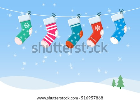 Vector Christmas Stockings hanging on a rope.
