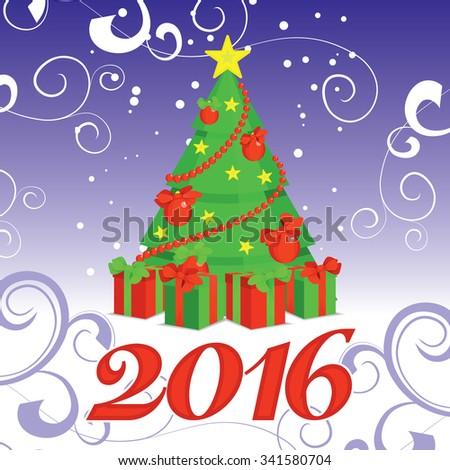 vector christmas tree 2016 - stock vector