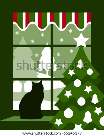 vector Christmas tree and cat at window - stock vector