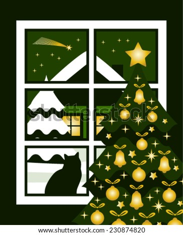 vector christmas tree and snowy night landscape with comet outside the window - stock vector