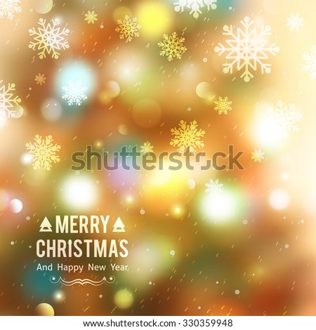 vector christmas tree, blurred background with lights and snowflakes - stock vector