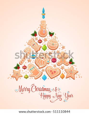 Vector Christmas Tree Cookies. Christmas greeting card background poster. Stock illustration. Merry christmas and Happy new year.