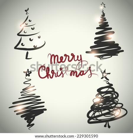 Vector Christmas tree design set sketch style - stock vector