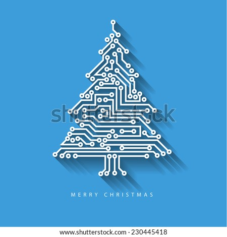 Vector christmas tree from digital electronic circuit on blue background with long shadow - stock vector